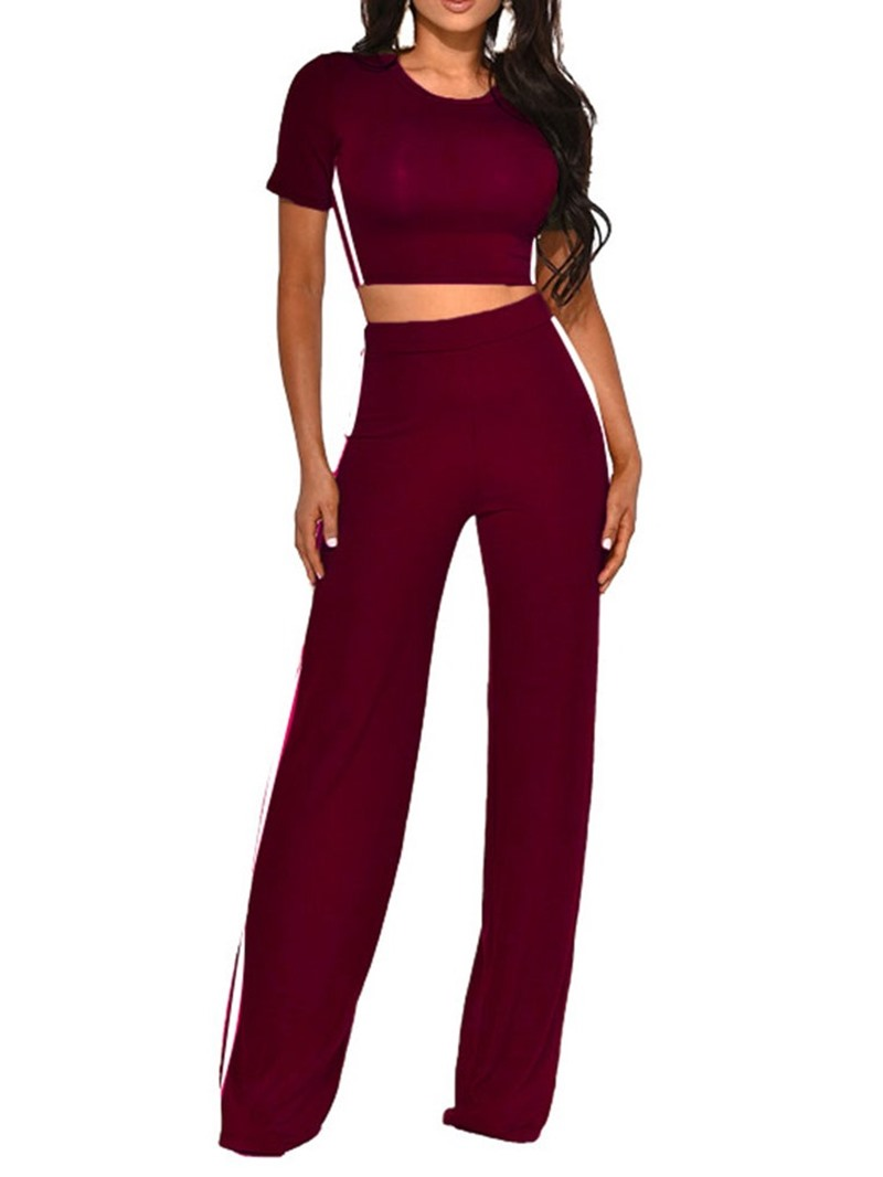 Ericdress Pants Stripe Pullover Straight Two Piece Sets