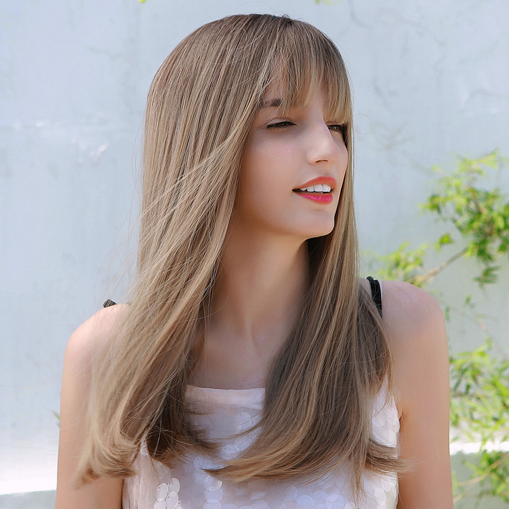 Synthetic Hair Natural Straight Capless 20 Inches 130% Wigs Heat Resistant Natural Looking Daily Party Wigs Cosplay Wigs with Natural Bangs