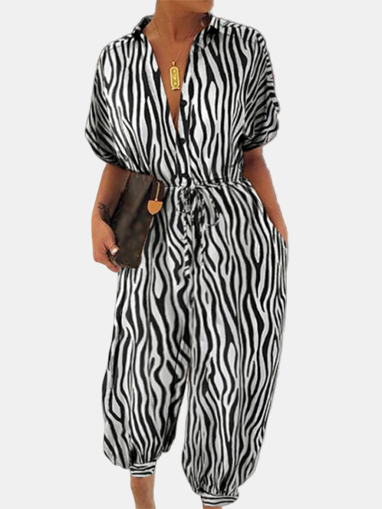 Zabra Print V-neck Drawstring Short Sleeve Plus Size Jumpsuit