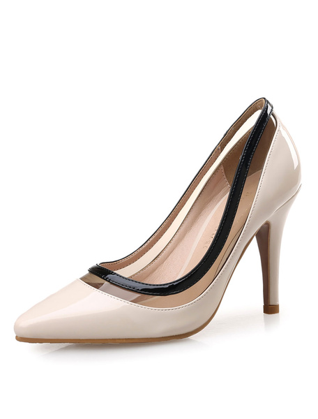 Milanoo Women's High Heels Snake Print Color Block Pointed Slip On Pumps Shoes