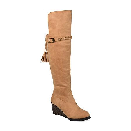 Journee Collection Womens Jezebel Extra Wide Calf Wedge Heel Over the Knee Boots, 11 Medium, Brown