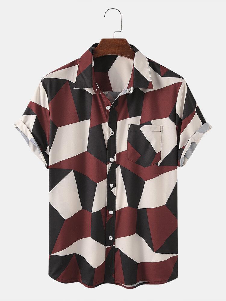 Men Color Block Geometric Stitching Short Sleeve Shirt