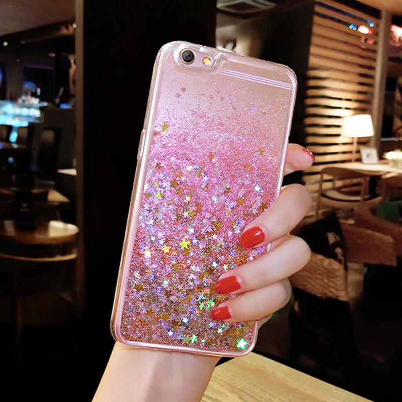 Pretty Heart Shape Paillette Gold Liquid Glitter iPhone Case