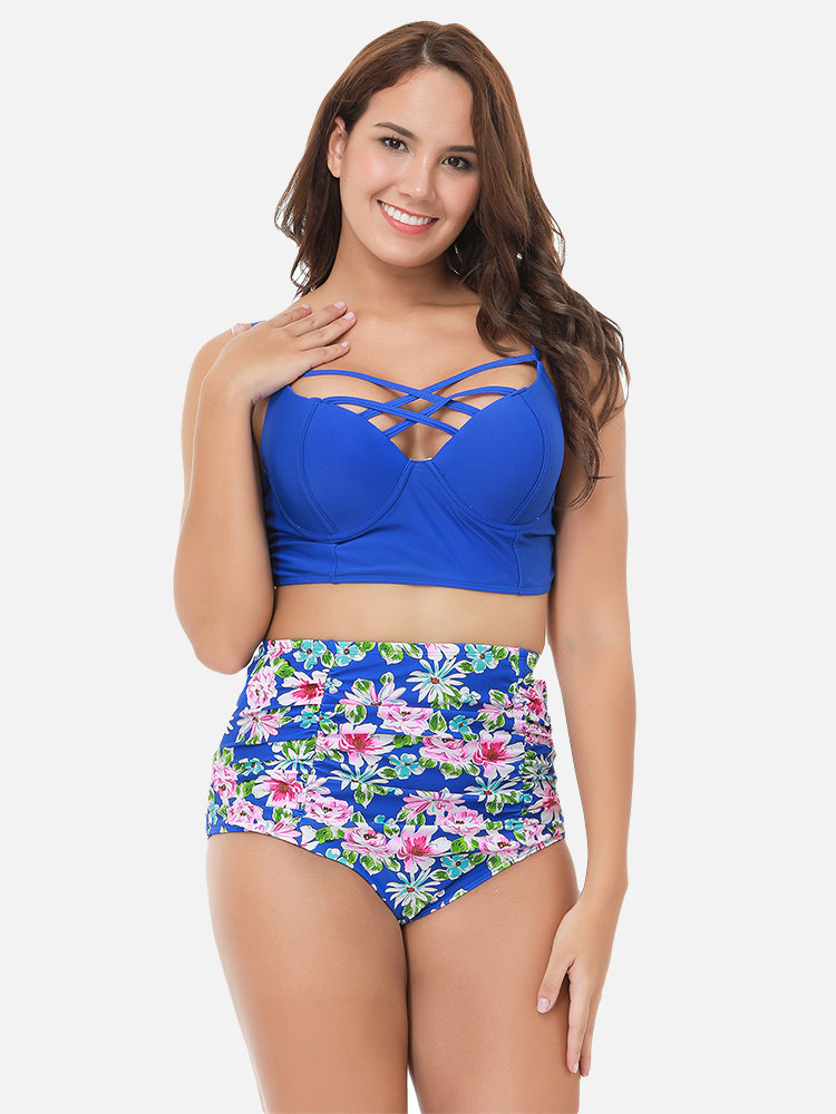 Plus Size High Waist Floral Criss Cross Print Underwire Tankinis Swimsuits For Women