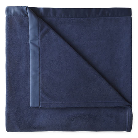 Home Expressions Micro Fleece Satin Trim Blanket, One Size , Blue