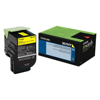 Lexmark 801HY 80C1HY0 Original Yellow Return Program Toner Cartridge High Yield