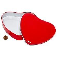 Metal Large Red Heart Tin Cans - Quantity: 24 - Tins - Type: Large Width: 6 Height/Depth: 1 1/8 Length: 6 1/2 by Paper Mart