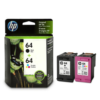 HP 64 X4D92AN Original Ink Cartridge Combo Black/Tri-color