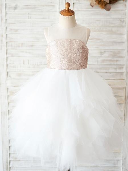 Milanoo Flower Girl Dresses Jewel Neck Tulle Sleeveless Knee-Length Princess Silhouette Kids Social Party Dresses