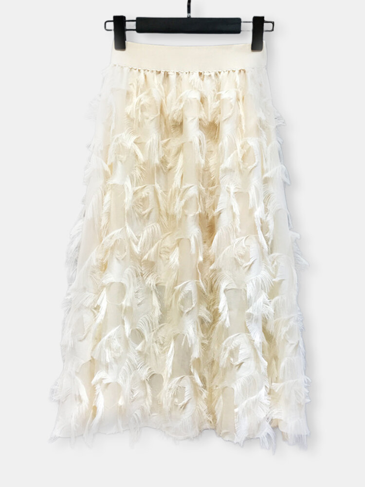 Solid Color Feather Fringed High Waist Long Skirt