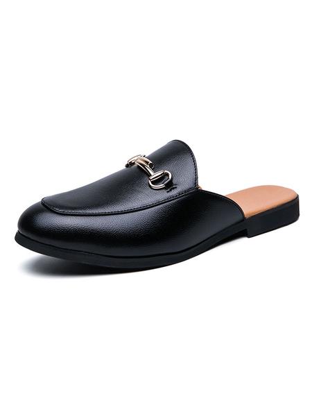 Milanoo Sandals For Men Slip-On Metal Details PU Leather Rubber Sole Men\'s Mules