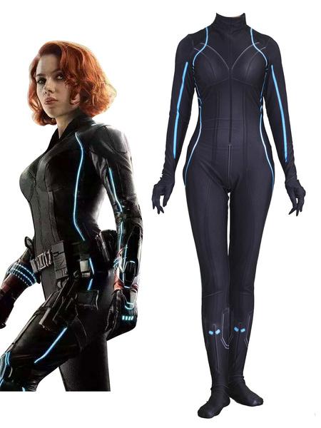 Milanoo Marvel Comics Marvel\'s The Avengers Cosplay Black Widow Jumpsuit Leotard Marvel Comics Cosplay Custom