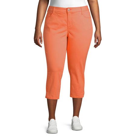 St. John's Bay Mid Rise Plus Cropped Pants, 16w , Orange