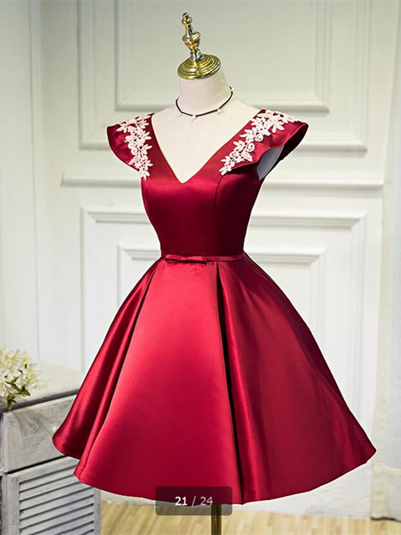 Ericdress A Line V Neck Cap Sleeve Applique Short Homecoming Dress