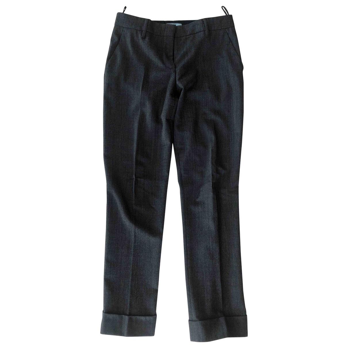 Prada \N Grey Wool Trousers for Women 42 IT