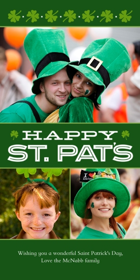St. Patrick's Day Cards Flat Matte Photo Paper Cards with Envelopes, 4x8, Card & Stationery -Happy St. Pats