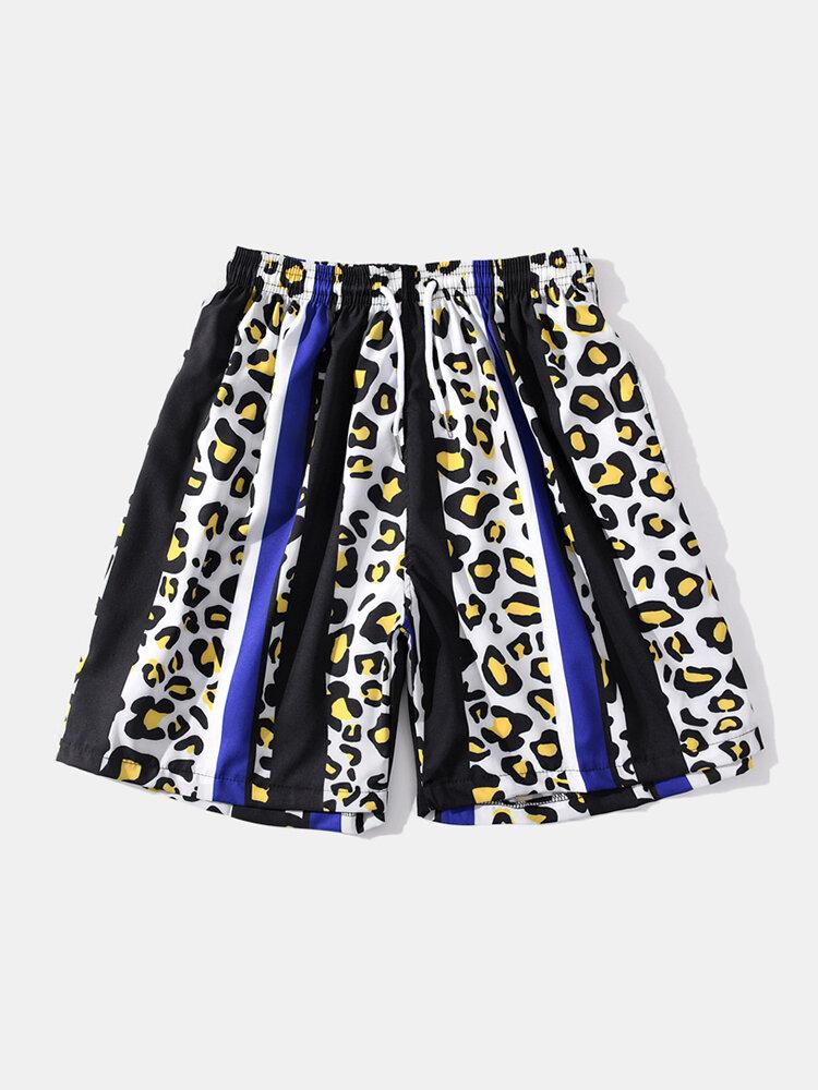 Mens Leopard Print Stripe Shorts Drawstring Mid Length Beach Board Shorts