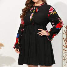 Plus Tie Neck Flounce Sleeve Floral A-line Dress