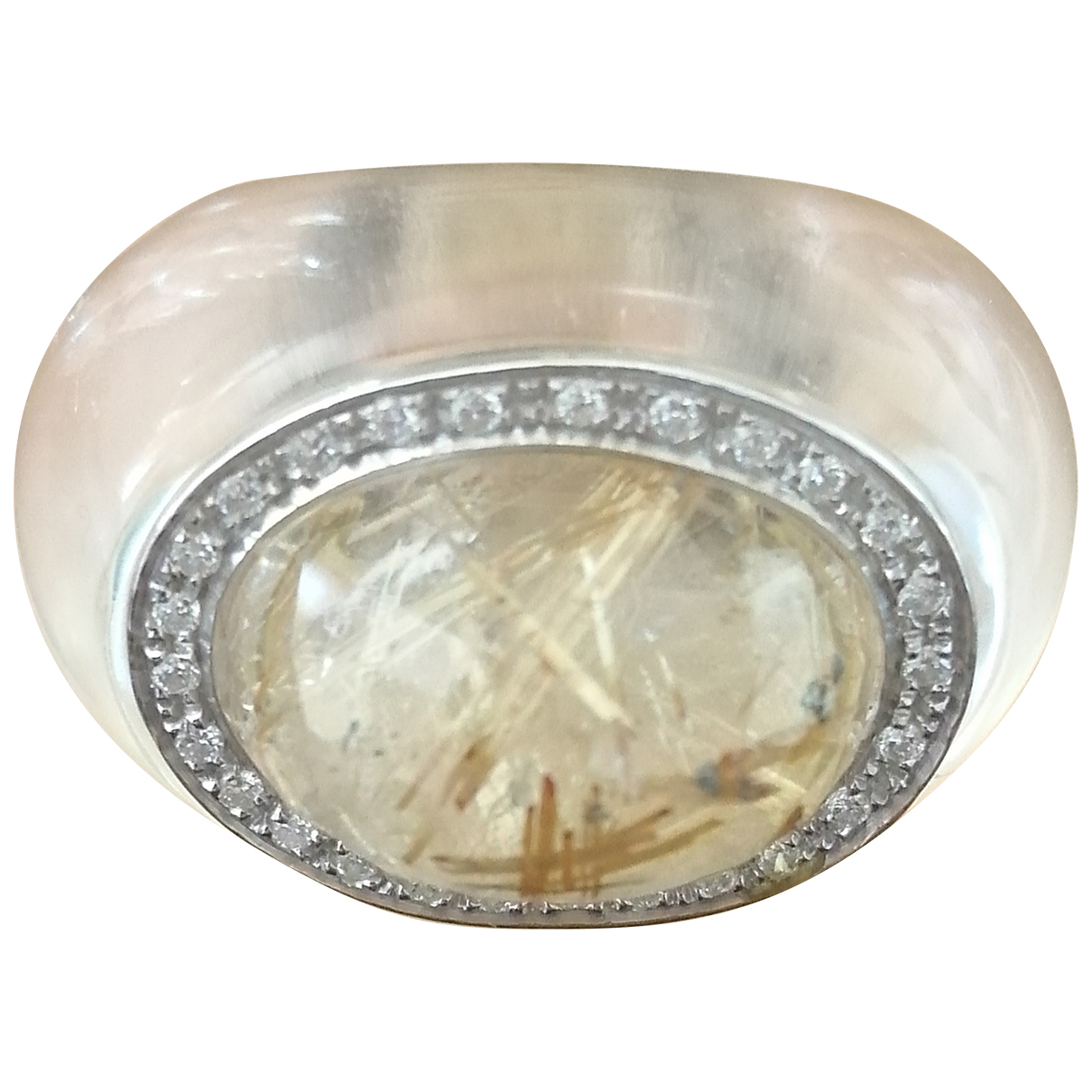 Non Signé / Unsigned \N Yellow Glass ring for Women 54 EU