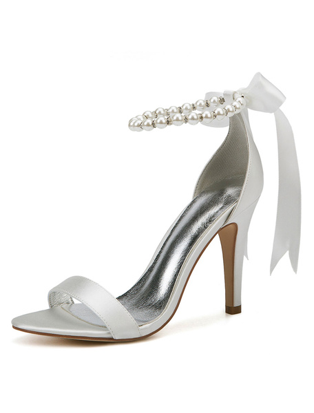 Milanoo White Wedding Shoes Satin Open Toe Pearls Bow High Heel Bridal Shoes Party Shoes