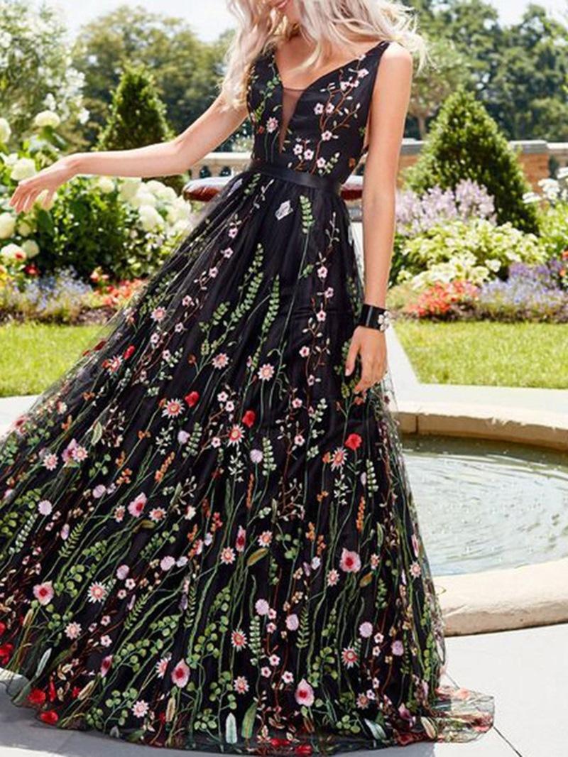 Ericdress V-Neck Backless Floor-Length Dress
