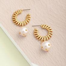 1pair Textured Stripe Hoop Pearl Charm Earrings