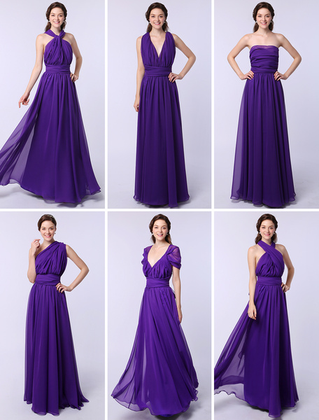 Milanoo Cheap Bridesmaid Dressess Long One Size Fits All Lavender Chiffon Wedding Party Dress (7 Styles)