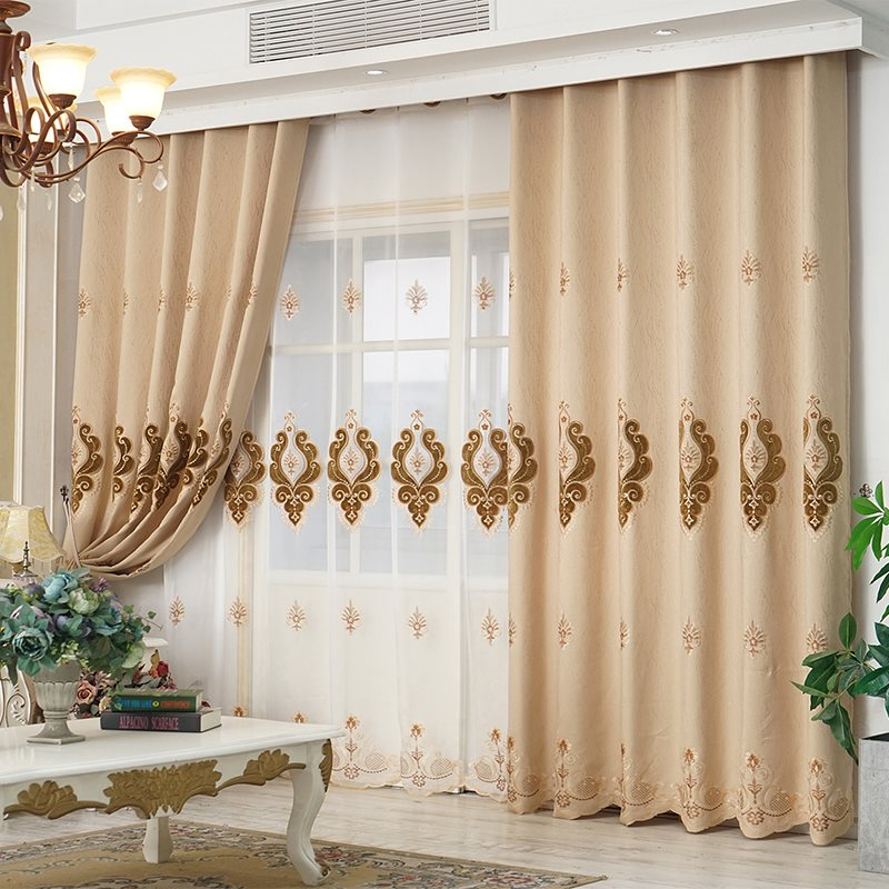 European Elegant Beige Chiffon Delicate Embroidered Custom Grommet Sheer Curtains