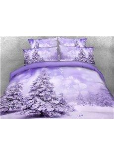 Vivilinen 3D Snowy Trees Printed 5-Piece Comforter Sets