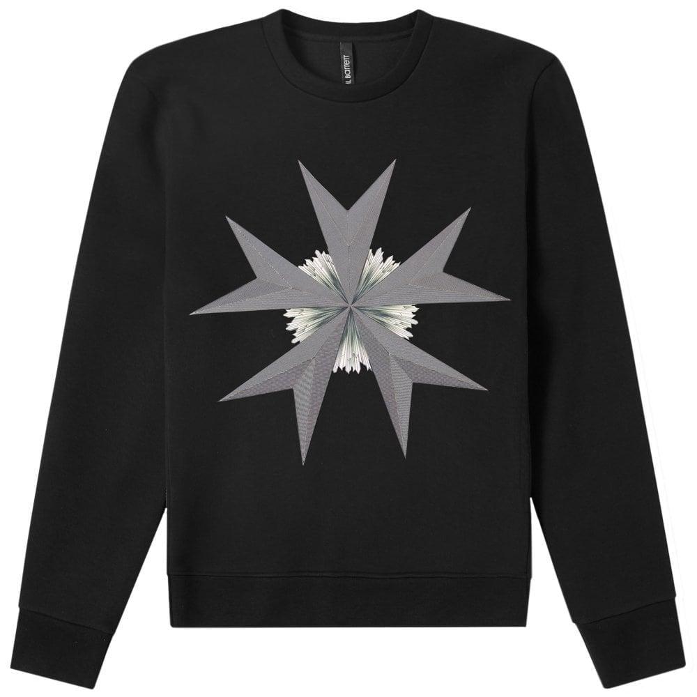 Neil Barrett Star Print Sweatshirt Black Colour: BLACK, Size: MEDIUM