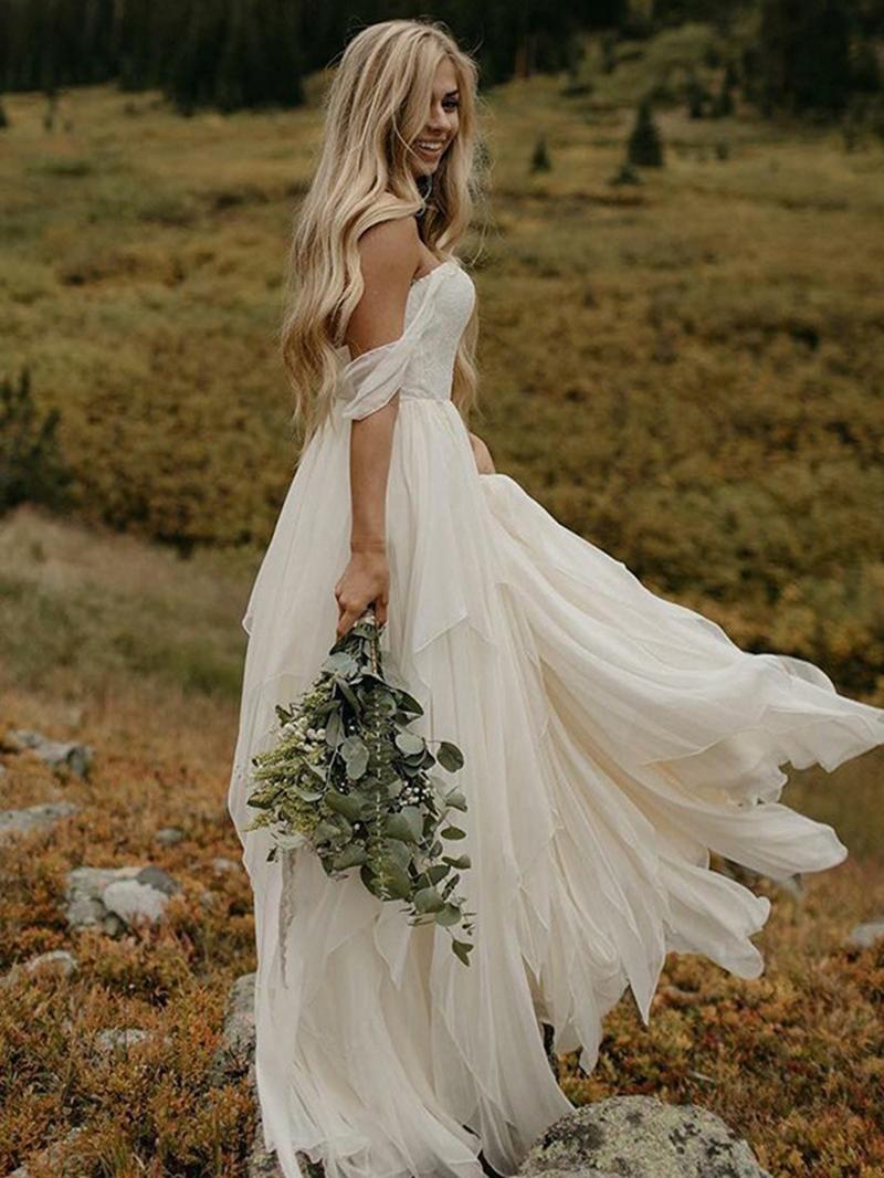 Ericdress Off-The-Shoulder A-Line Beach Wedding Dress
