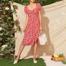 Split Thigh Ditsy Floral Milkmaid Dress