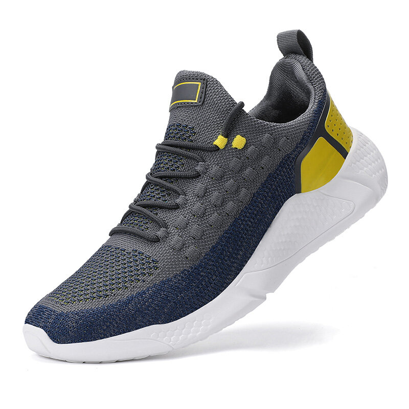 Men Knitted Fabric Breathable Comfy Walking Casual Sport Shoes