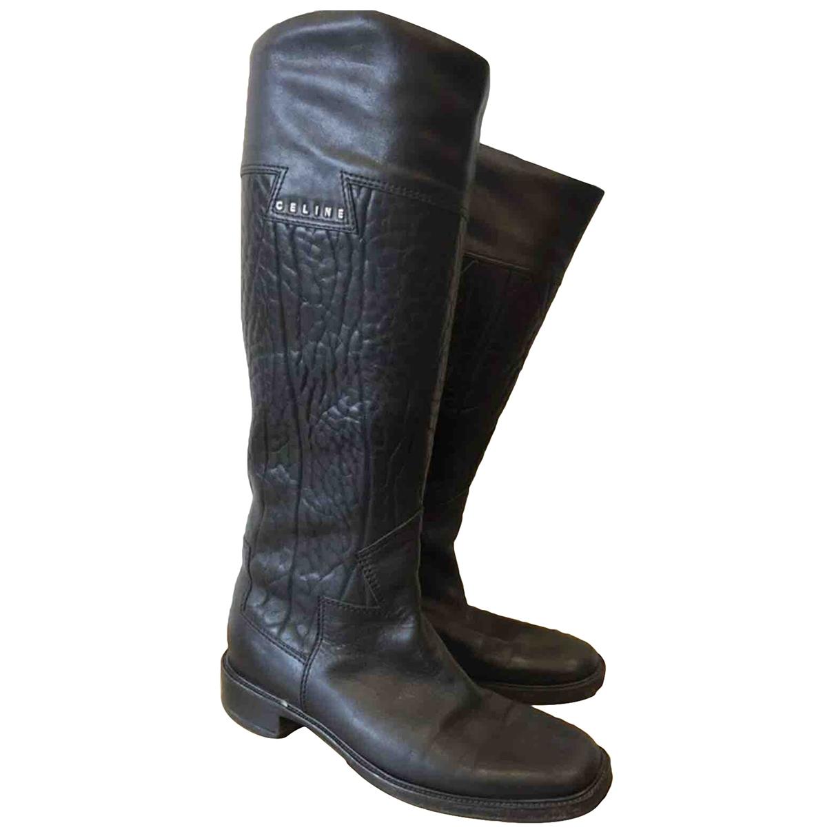 Celine \N Black Leather Boots for Women 39.5 EU