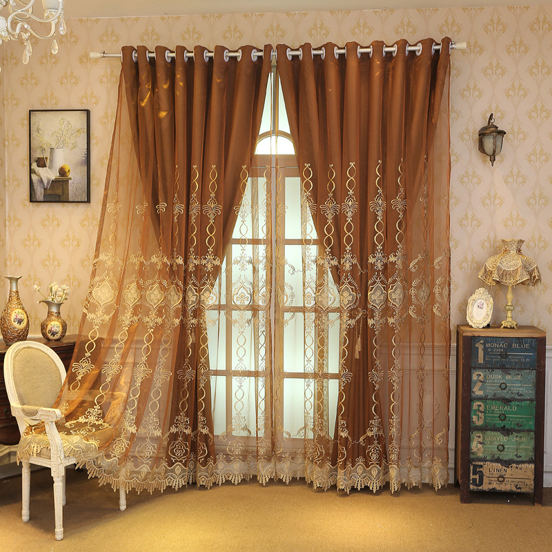 Ventilate European Delicate Embroidered Blackout Custom Curtain Sets with Free Tassels Curtain Tie Backs