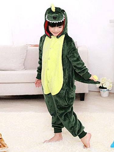 Milanoo Kigurumi Pajamas Dinosaur Onesie Kids Flannel Green Winter Sleepwear Mascot Animal Costume Halloween