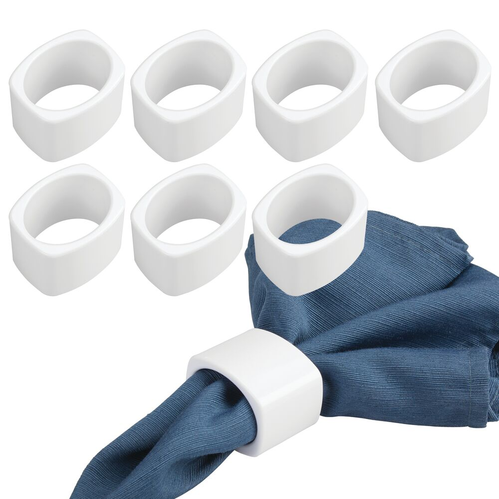 Decorative Plastic Napkin Rings for Place Settings - Pack of in White, 2 x 1.6 x 1.5, by mDesign