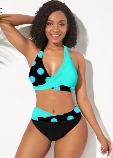 Polka Dot Swimsuits Halter Polka Dot Color Block Bikini Set - XL