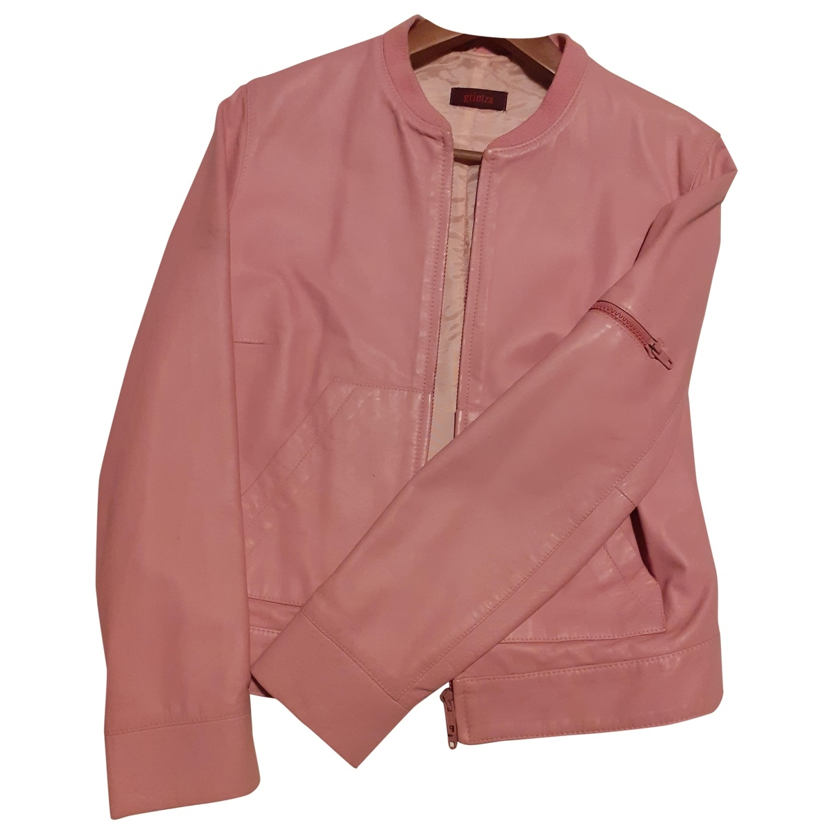 Non Signé / Unsigned \N Pink Leather Leather jacket for Women 44 IT