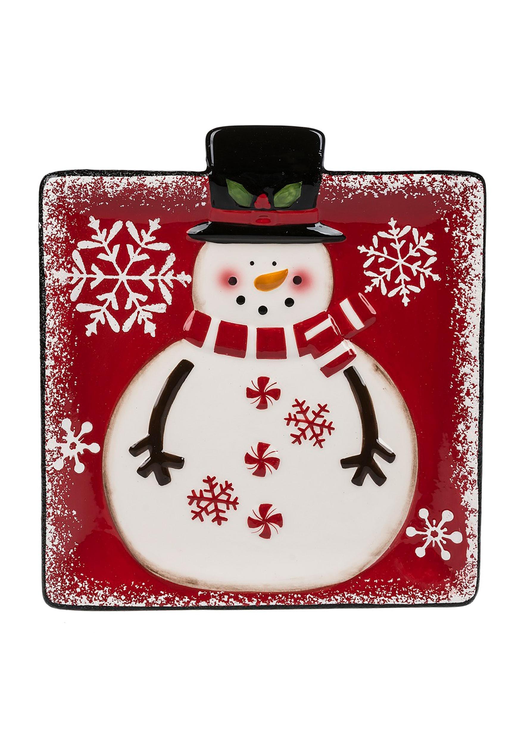 Snowman Snack Plate Dish
