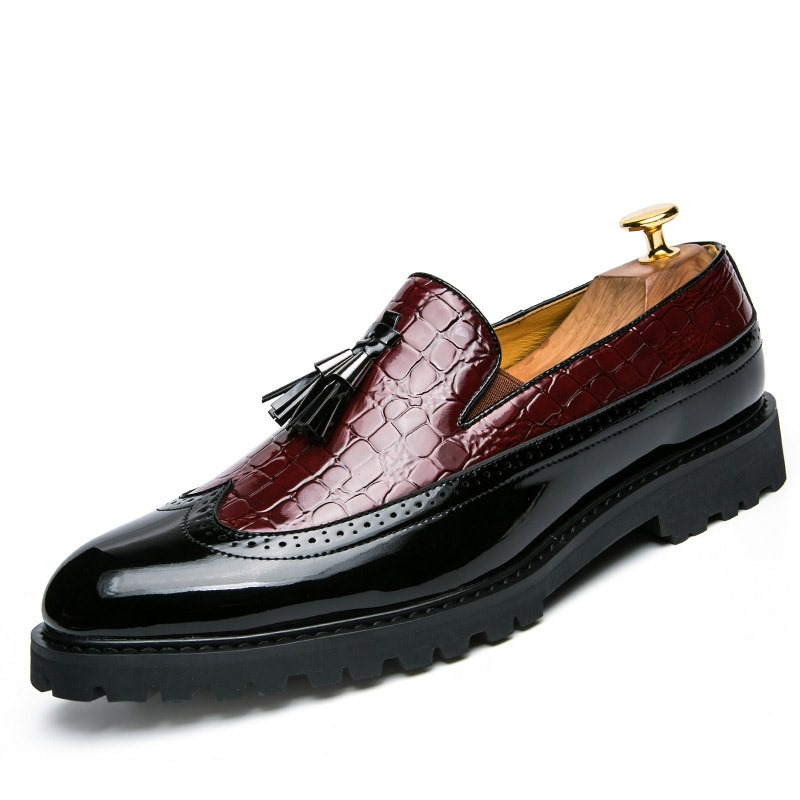 Ericdress PU Color Block Pointed Toe Men's Dress Shoes