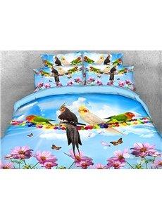 Four Parrots On Colorful Telegraph Poles Warm 3D Printed 5-Piece Comforter Sets