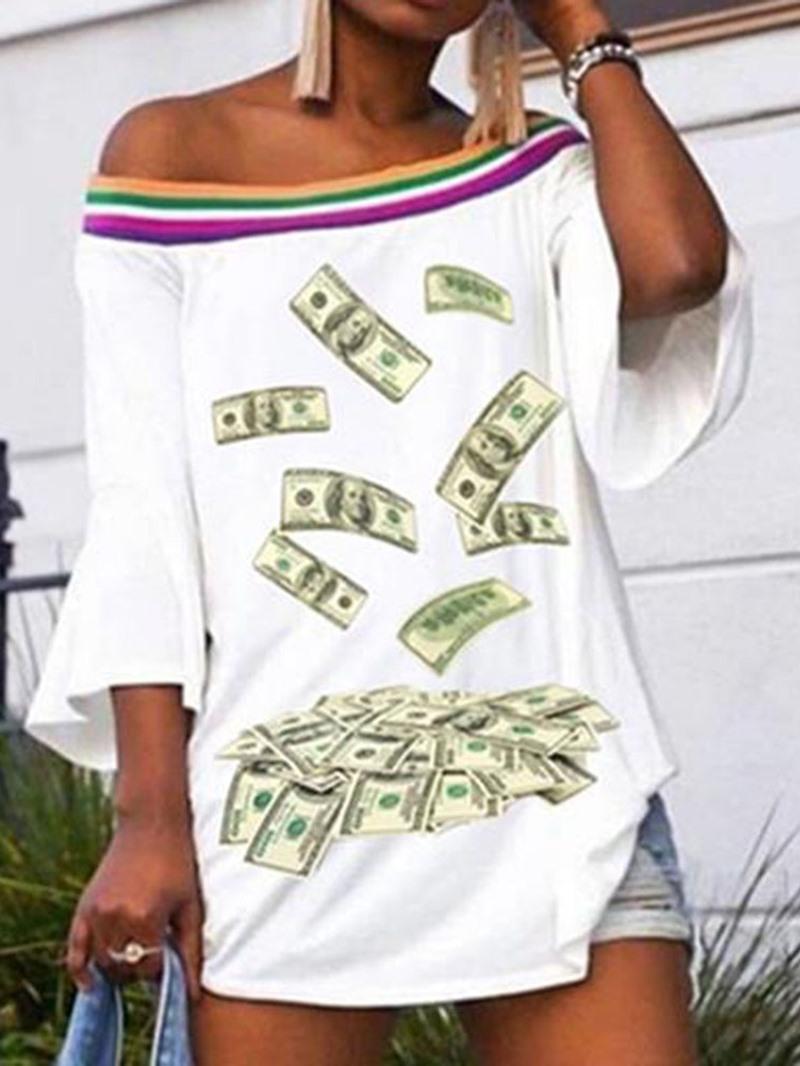 Ericdress Mid-Length Off Shoulder Print Loose T-Shirt