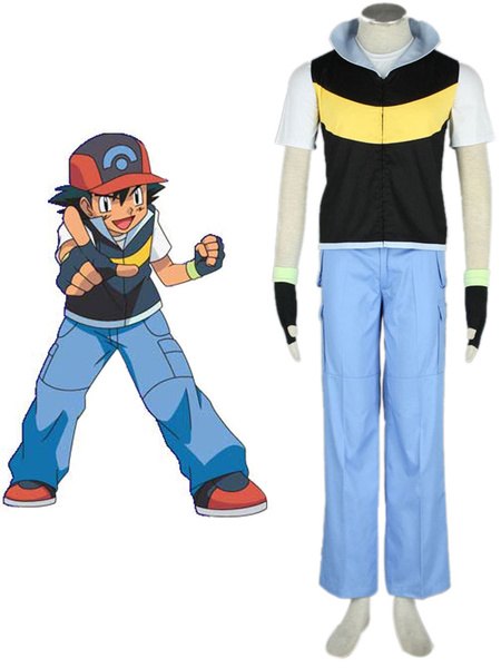 Milanoo Pokemon Ash Ketchum Cosplay Costume Halloween