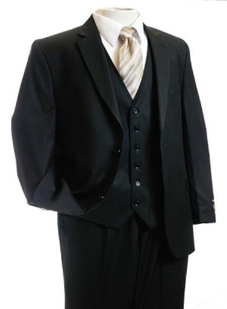 3 Piece 2 Button Black Vested  Suit Mens