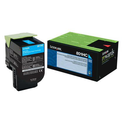 Lexmark 801HC 80C1HC0 Original Cyan Return Program Toner Cartridge High Yield