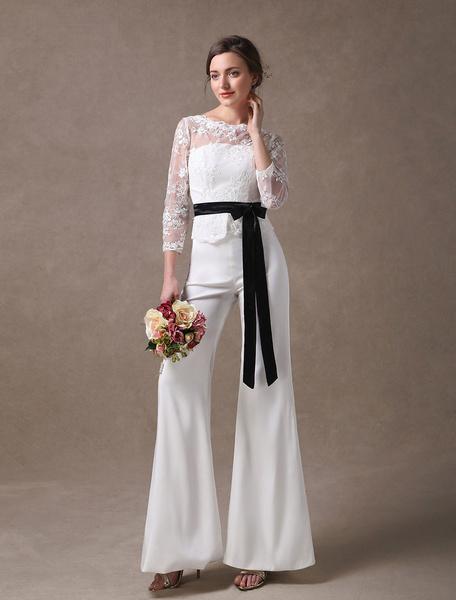 Milanoo Wedding Jumpsuits Ivory Long Sleeve Lace Applique Ribbon Sash Illusion Cutoff Wide Leg Bridal Jumpsuit