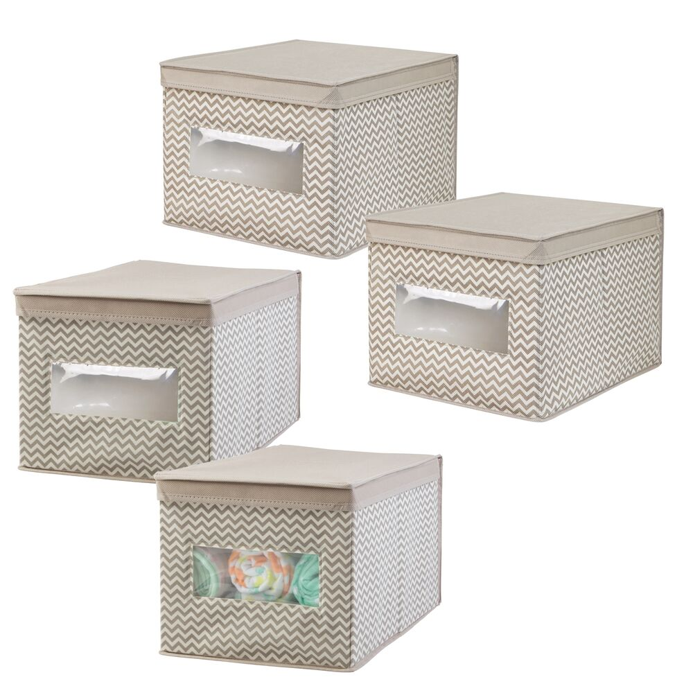 Kids Fabric Cube Storage Bin Closet Organizer in Taupe/Natural, 15.5