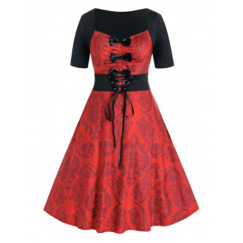 Plus Size Bowknot Lace-up Damask Print Retro Dress