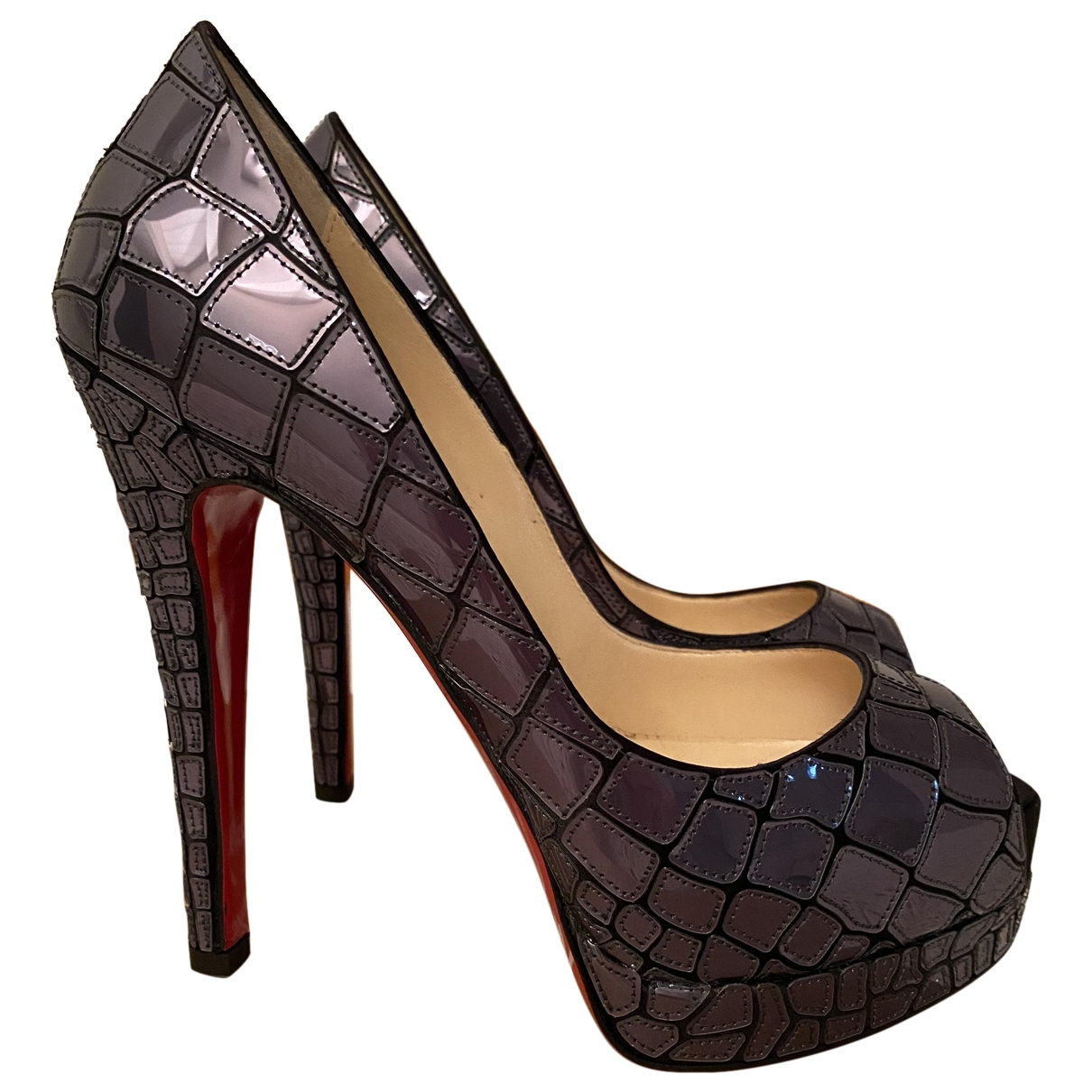 Christian Louboutin \N Anthracite Leather Heels for Women 36 EU